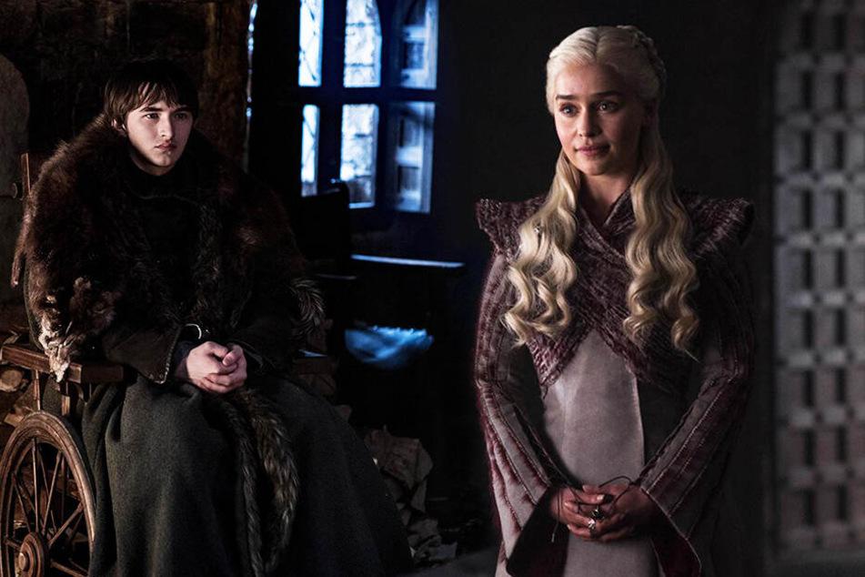Brandon Stark (l., Isaac Hempstead-Wright) und Daenerys Targaryen (Emilia Clarke) spielen in den letzten 75 Minuten der Serie tragende Rollen. (Bildmontage)