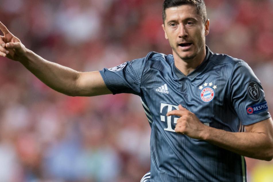 Stürmer Robert Lewandowski hatte gegen Benfica erneut Grund zum Jubeln.
