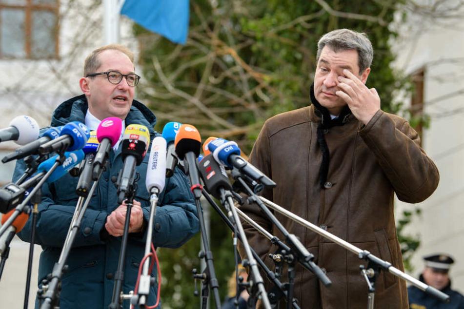 Alexander Dobrindt (l), CSU-Landesgruppenchef, und Markus Söder (CSU), Ministerpräsident von Bayern, geben zum Auftakt der Winterklausur der CSU-Landesgruppe im Bundestag im Kloster Seeon ein Statement vor der Presse ab.