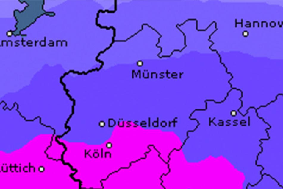 Das Niederschlagsrisiko für OWL ist relativ niedrig, erst bei pink wird es mehr.