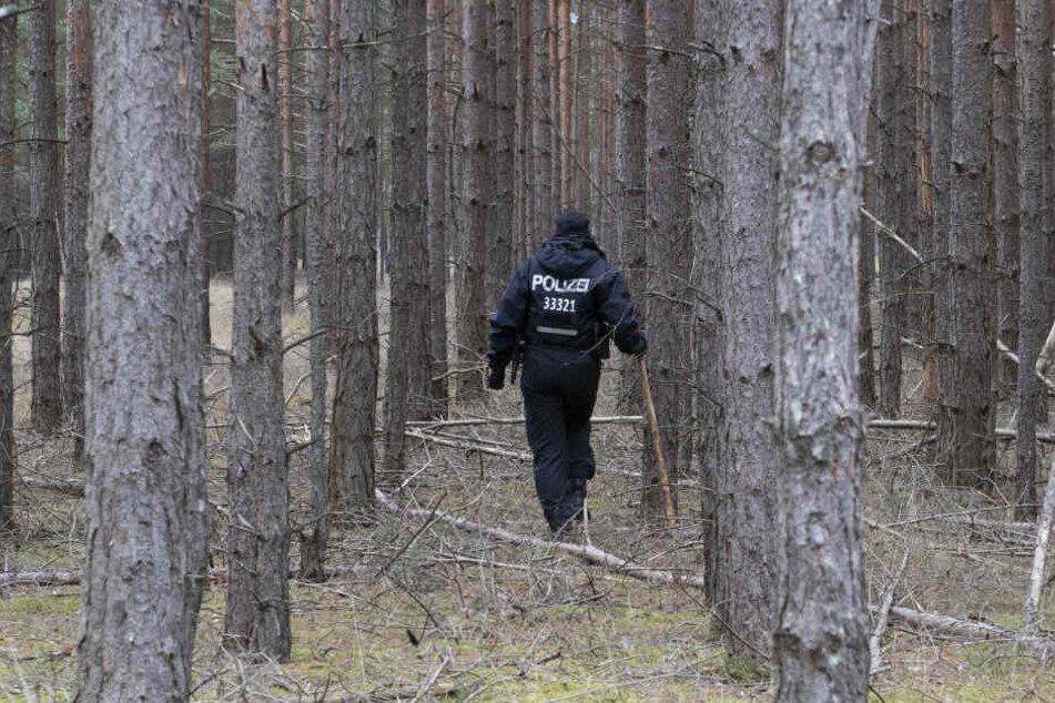 Ein Polizist durchsucht ein Waldstück im Landkreis Oder / Spree auf der Suche nach Rebecca.