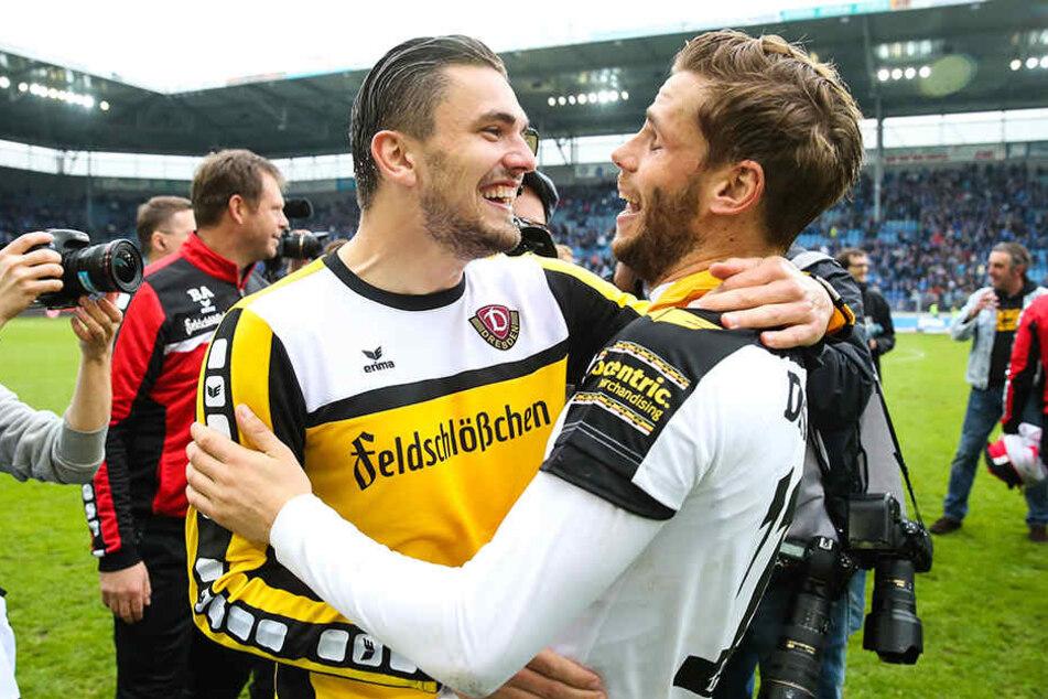 Gibt's das Traumsturm-Duo Pascal Testroet (l.) und Justin Eilers bei Dynamo bald wieder?
