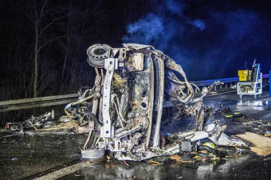 Beim einem Verkehrsunfall auf der A6 vergangenen Mittwoch verbrannten zwei Menschen.