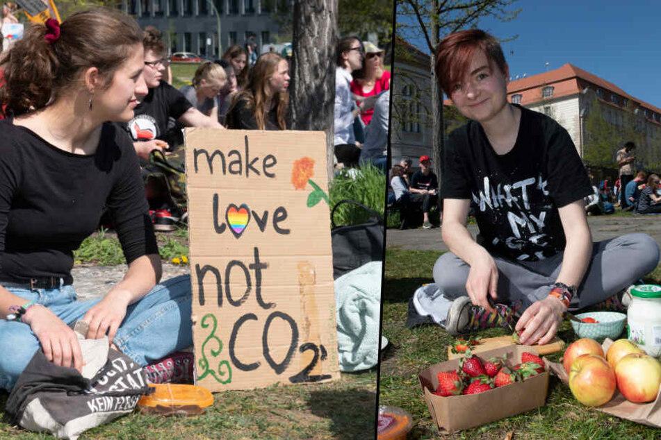 """Die Meinung einer Demo-Teilnehmerin: """"make love not CO2"""""""