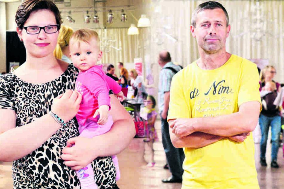 Sarah Walter (21) mit Josefina Sarah (8 Monate) und Torsten Markow (52), hat Zwillinge (9).