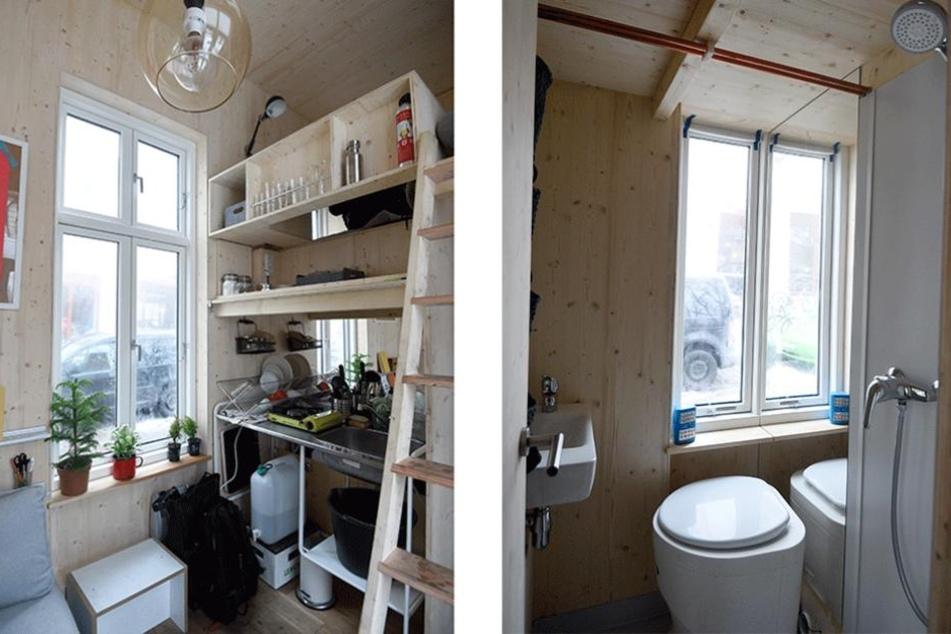 Ein Blick in Küche (li.) und Bad.