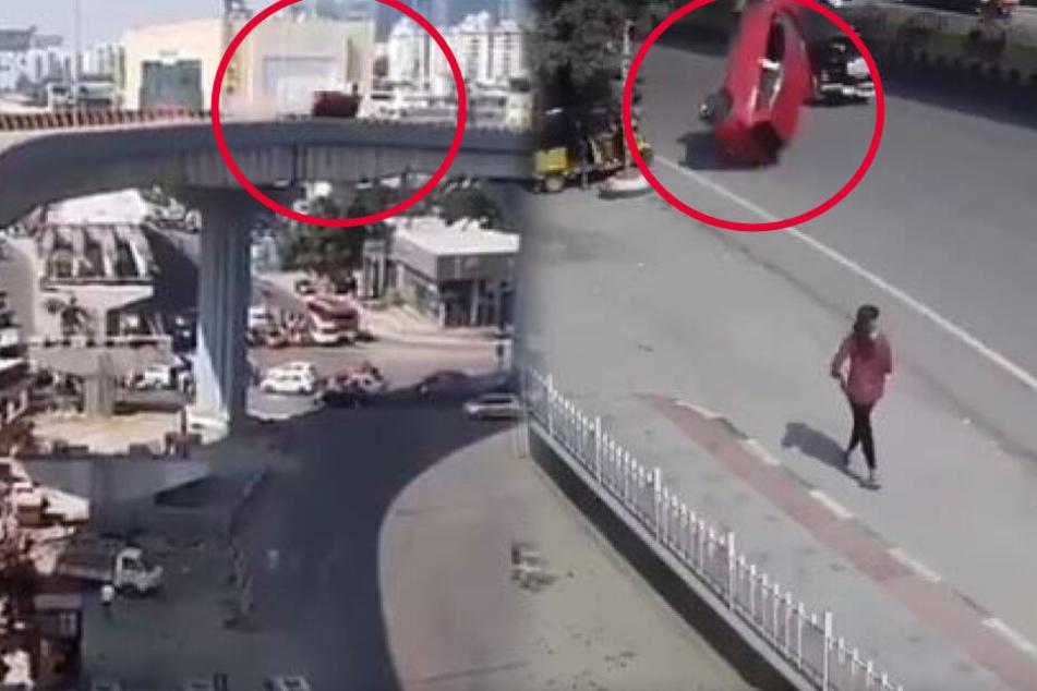 Horror-Unfall: Raser fliegt von Brücke 25 Meter in die Tiefe, Tote und Verletzte!