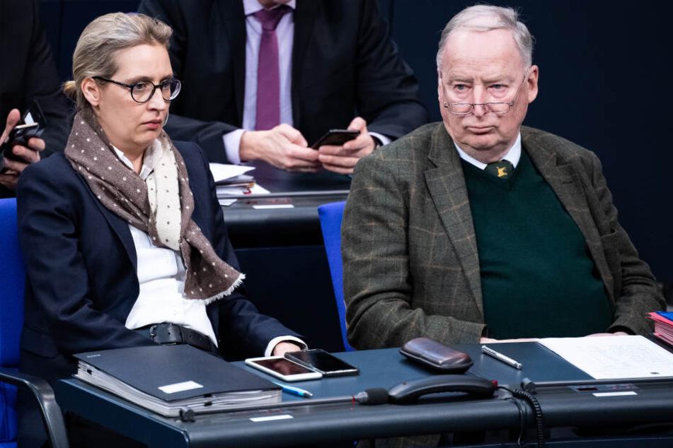 Die AfD-Chefs, Alice Weidel (l.) und Alexander Gauland (r.), äußerten sich noch nicht zu dem Gutachten.