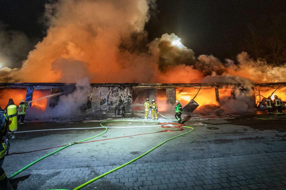 Feuerwehrleute des gesamten Landkreises kämpfen gegen die Flammen an.