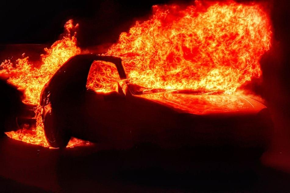 Die Fahrzeuge standen lichterloh in Flammen.