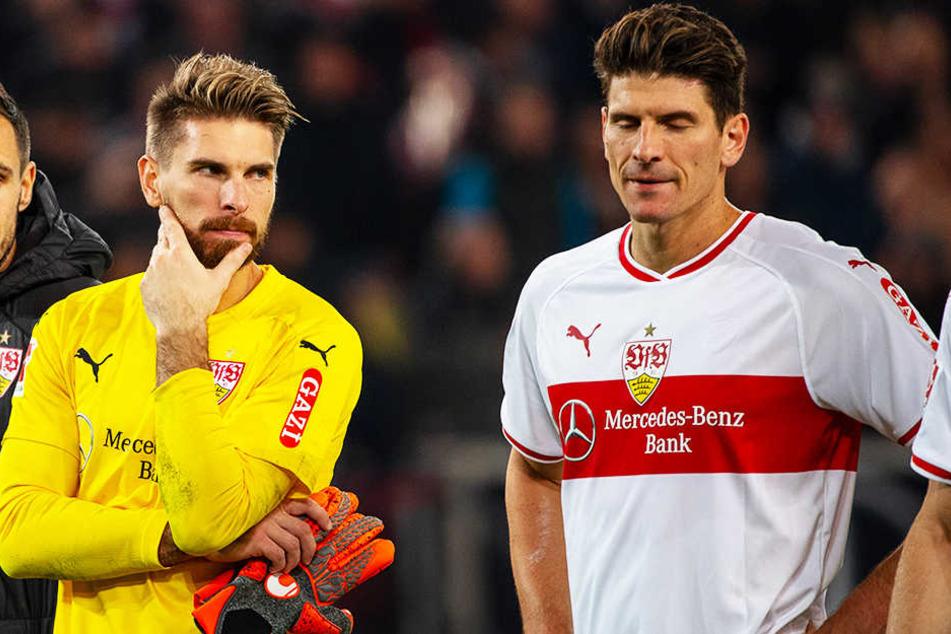 Die tiefe Krise des VfB Stuttgart steht Torwart Ron-Robert Zieler (l.) und Mario Gomez (r.) ins Gesicht geschrieben.