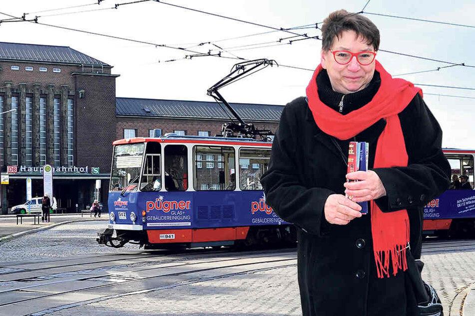 Die Zwickauer Linken,hier Fraktions-Chefin Ute Brückner (59),sind mehrheitlich gegen eine Tram zum Hauptbahnhof.