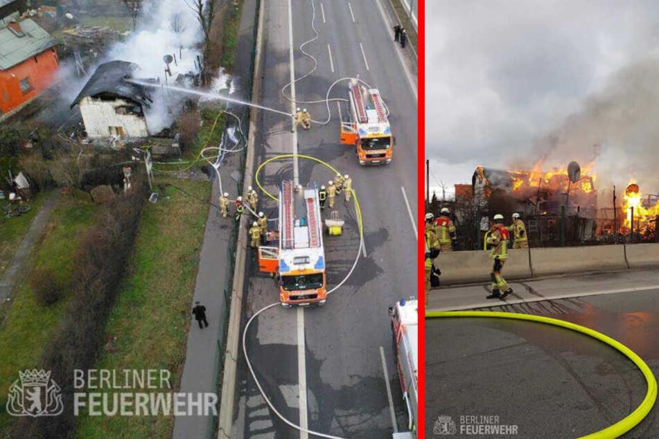 Die Feuerwehr musste von der Autobahn aus das Feuer unter Kontrolle bringen.