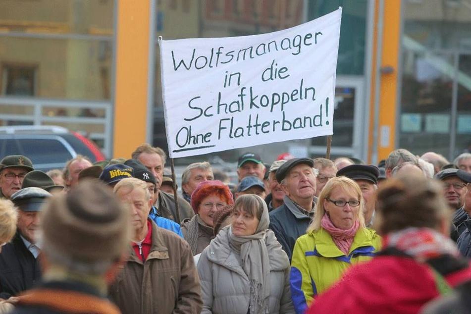 Knapp 200 Menschen demonstrierten gegen die aktuelle Wolfspolitik.