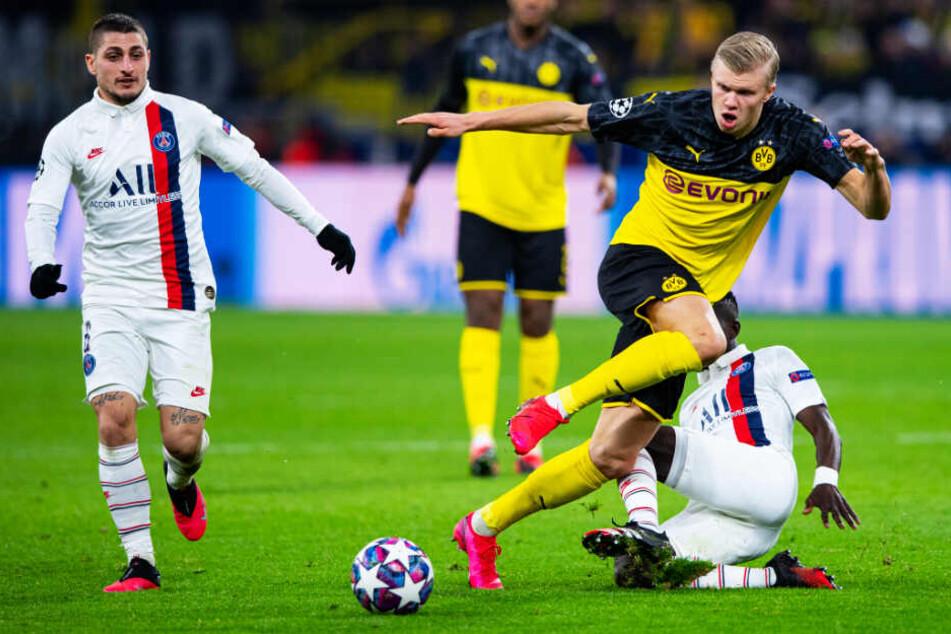 Erling Haaland (oben-rechts) überragte beim BVB und schoss sein Team mit zwei Toren zum Sieg.