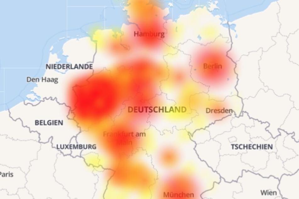 Auf der Karte sieht man, dass ganz Deutschland von der Störung betroffen ist.