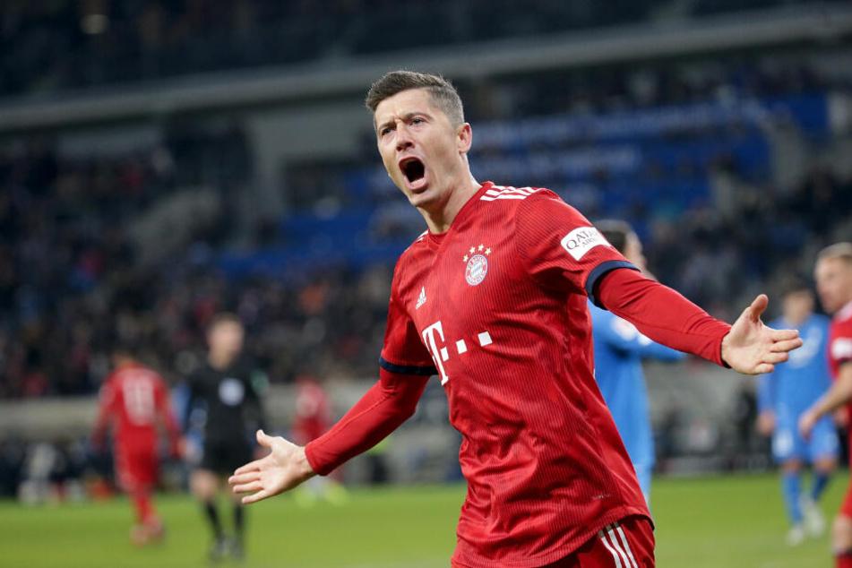 Robert Lewandowski nach seinem Treffer gegen Hoffenheim.