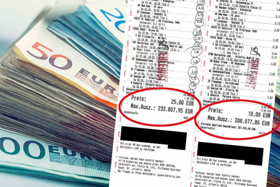 Mit diesen beiden Wettscheinen und einem Gesamteinsatz von 35 Euro kam ein Dresdner zu ziemlich viel Geld.