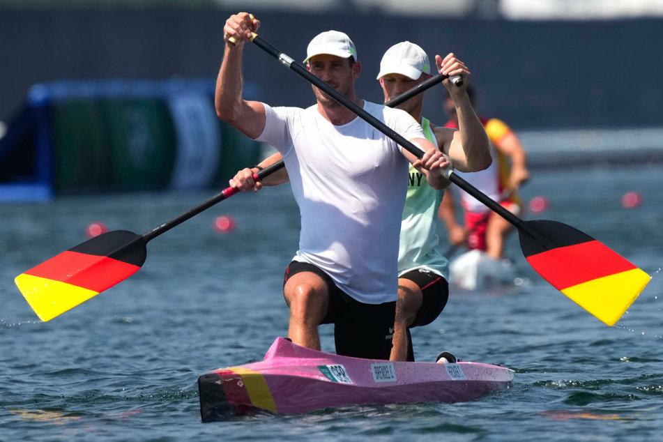 Sebastian Brendel (vorn) und Bootspartner Tim Hecker (23) beim Training in Tokio. Im Canadier-Zweier wollen die Kanuten um die Goldmedaille kämpfen.