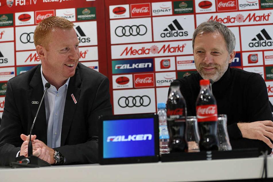 Maik Walpurgis (li.) wurde am Samstag als neuer Trainer des FC Ingolstadt vorgestellt.