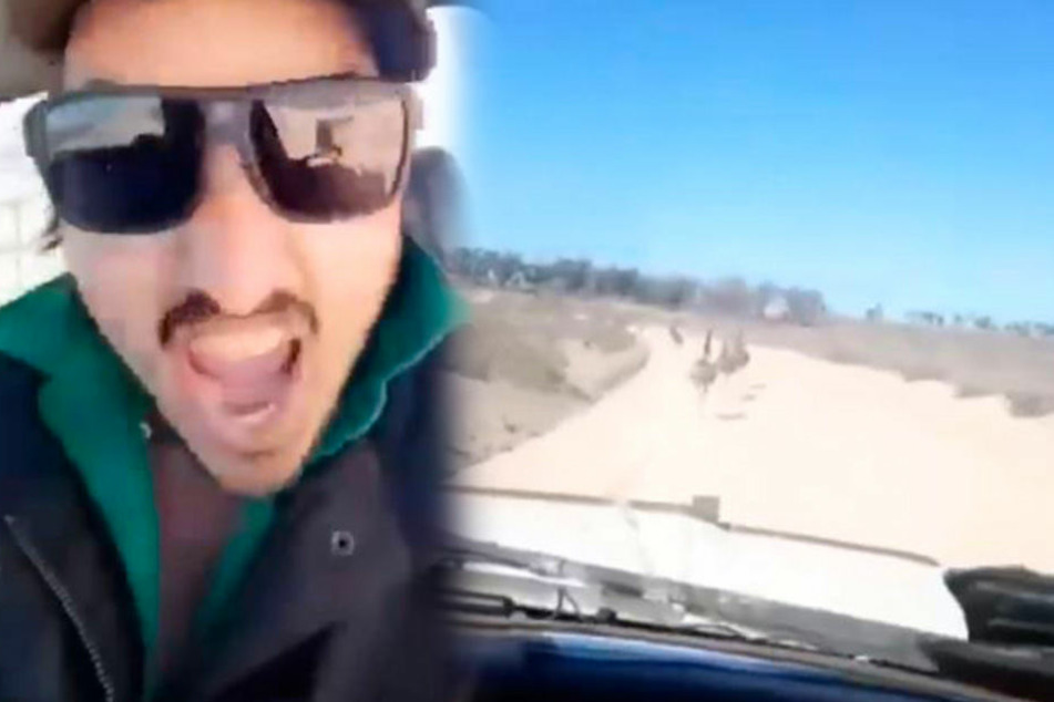 Dieser scheint richtig Spaß dabei zu haben: Mutwillig überfährt er unschulige Emus im australischen Outback.
