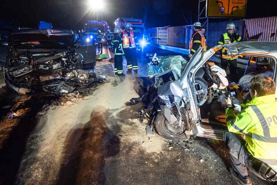 Das Foto zeigt beide Autowracks auf dem Ostring in Bad Homburg.