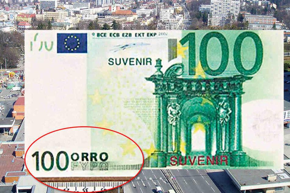 """Der 100-Orro-Schein verkaufte sich trotz """"Suvenir""""-Hinweis geradezu bestens ..."""