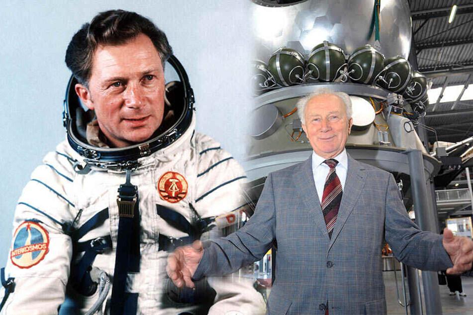 Sigmund Jähn, einmal nach seinem Flug mit der Rakete Sojus 31 (links) und vor einem Nachbau des Raumschiffs Wostok (rechts).