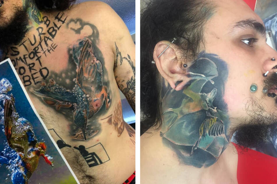 In addition to his face tunnels, James Goss also has quite the portfolio of tattoos.
