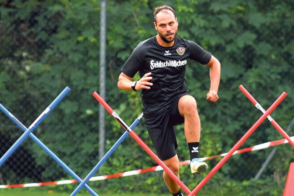 Rico Benatelli beim Training. Der Ex-Auer fühlt sich bei den Dynamos wohl.