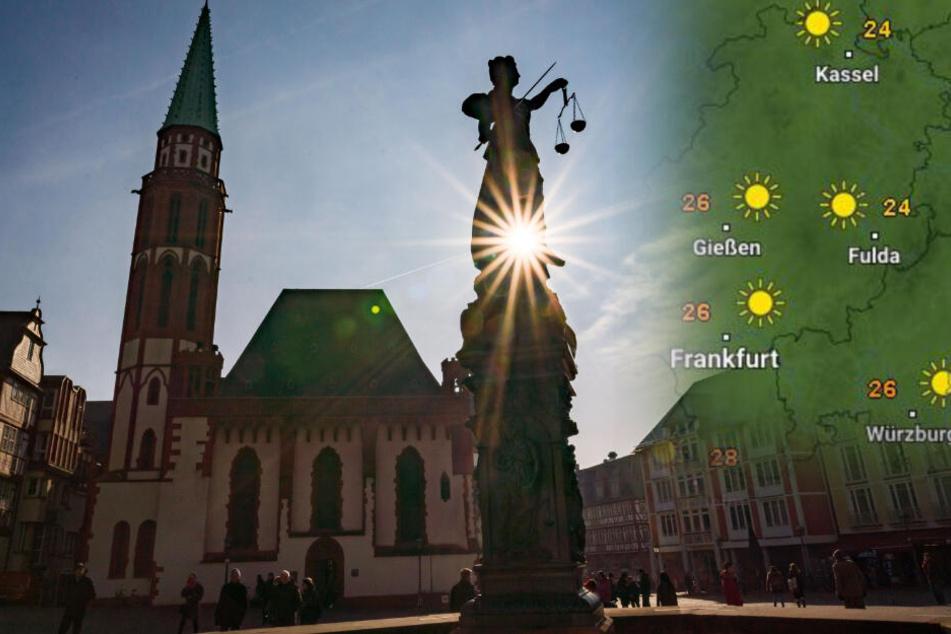 Auch auf den Frankfurter Römerberg wird am Wochenende ordentlich die Sonne scheinen.