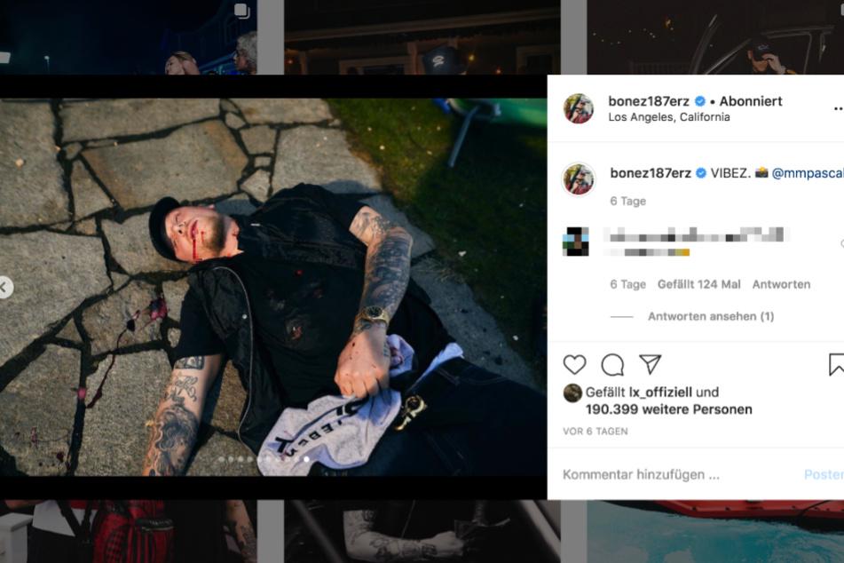Szenen aus dem Video hat Bonez bereits zuvor auf Instagram gezeigt, darunter auch eine, in der er selbst erschossen am Boden liegt.