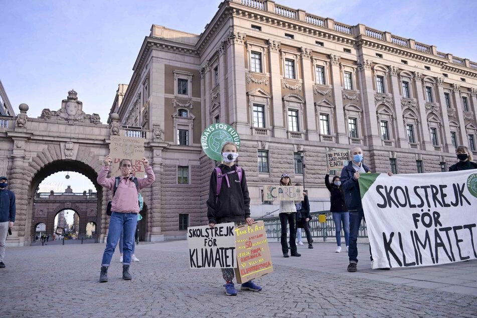 Greta Thunberg (vorne,M,l), Klimaaktivistin aus Schweden, und andere protestieren vor dem schwedischen Parlament Riksdagen.