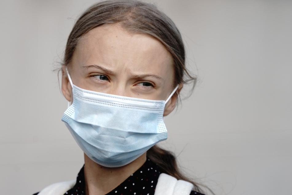 Die Klimaaktivistin Greta Thunberg am Donnerstagmorgen auf dem Weg ins Bundeskanzleramt.