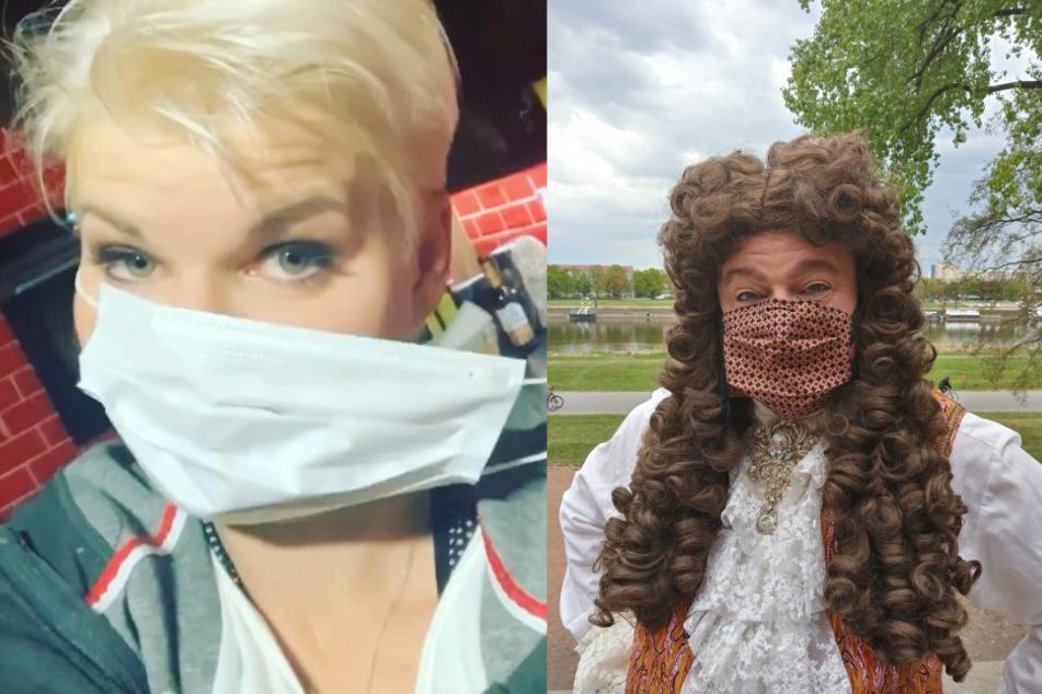 So tragen Dschungelkönigin Melanie Müller und Augustus Rex alias Steffen Urban die Maske.