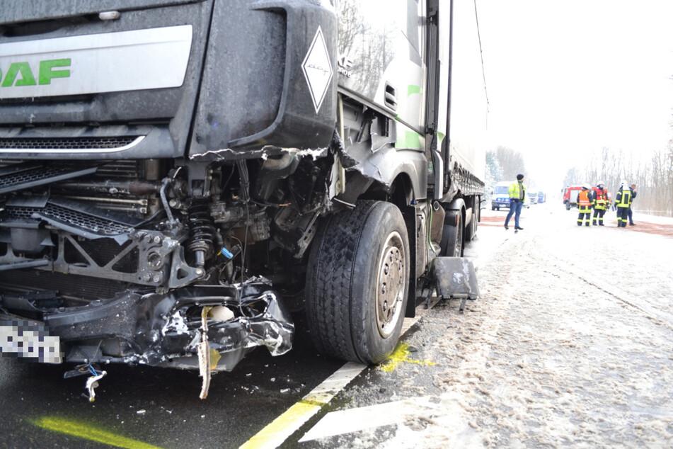 Auch an dem polnischen Lastwagen entstand ein ziemlicher Schaden.