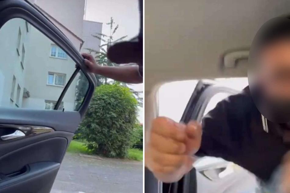 """Zunächst hatte der Uber-Fahrer in dem Clip noch an der Wagentür gestanden. Dann kam er zu Kate Merlan (34) ins Wageninnere, während die nur noch lautstark """"Aua!"""" schrie."""