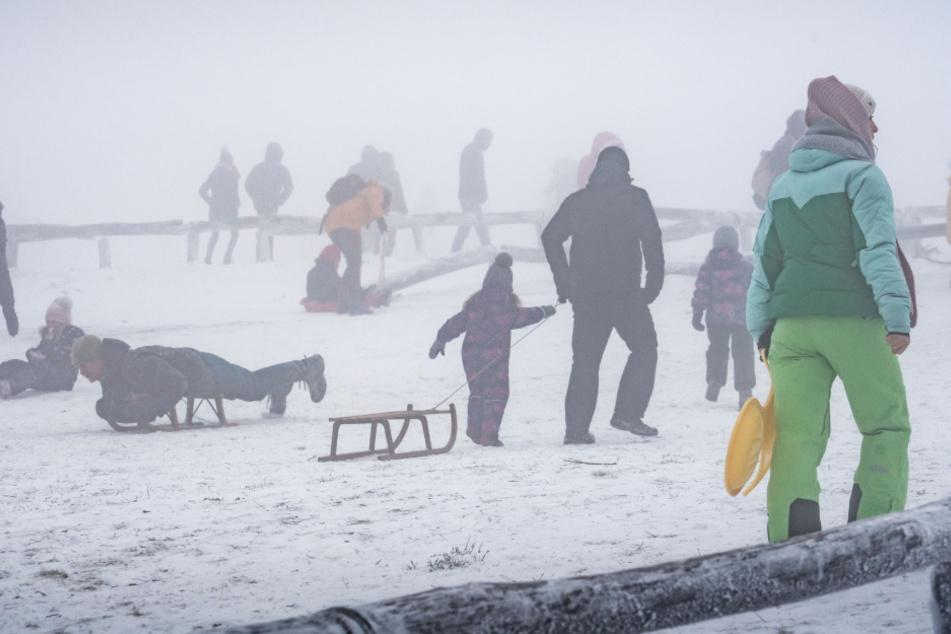 Zahlreiche Menschen tummeln sich beim Schlittenfahren auf dem nebligen Großen Feldbergs im Taunus.