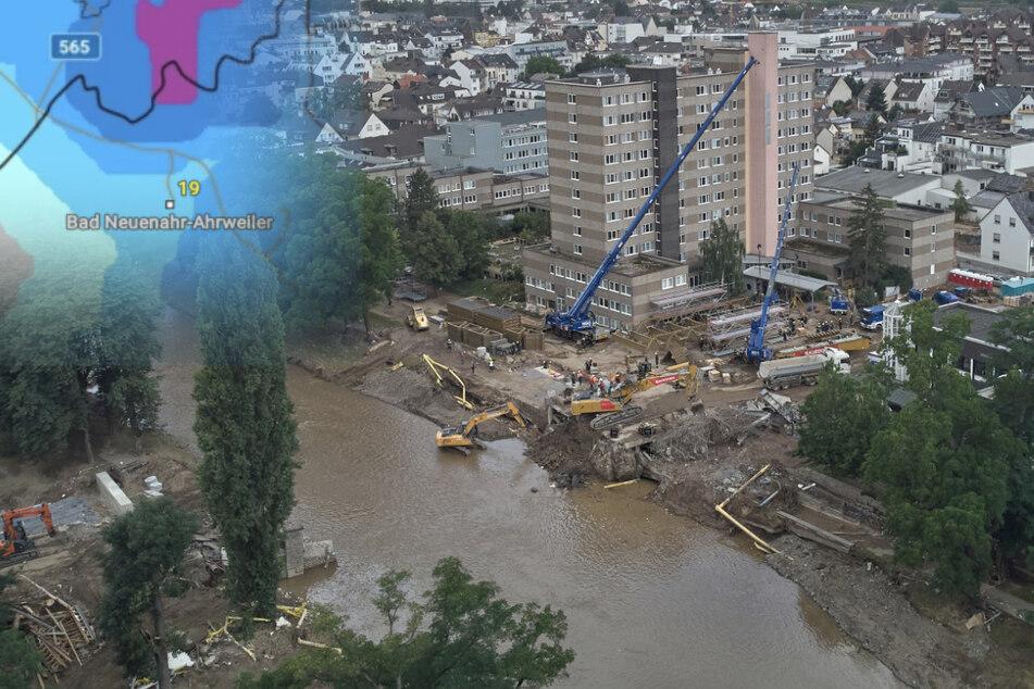 Hochwasser in Bad Neuenahr-Ahrweiler: Für Dienstag ist in der vom Hochwasser besonders betroffenen Region erneut Starkregen vorhergesagt.