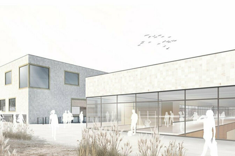 So soll die neue 3-Felder-Sporthalle der TU Chemnitz aussehen. Daneben entsteht ein Institutsgebäude mit integriertem Gymnastik- und Cardiobereich.