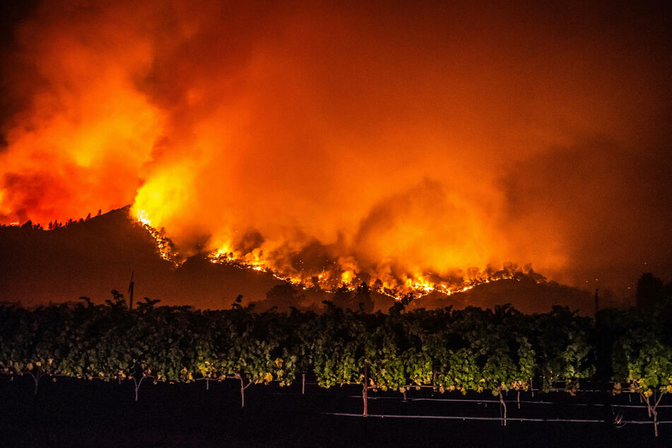 September 28, 2020: wildfire flames tore through the famous wine region in Calistoga, California.