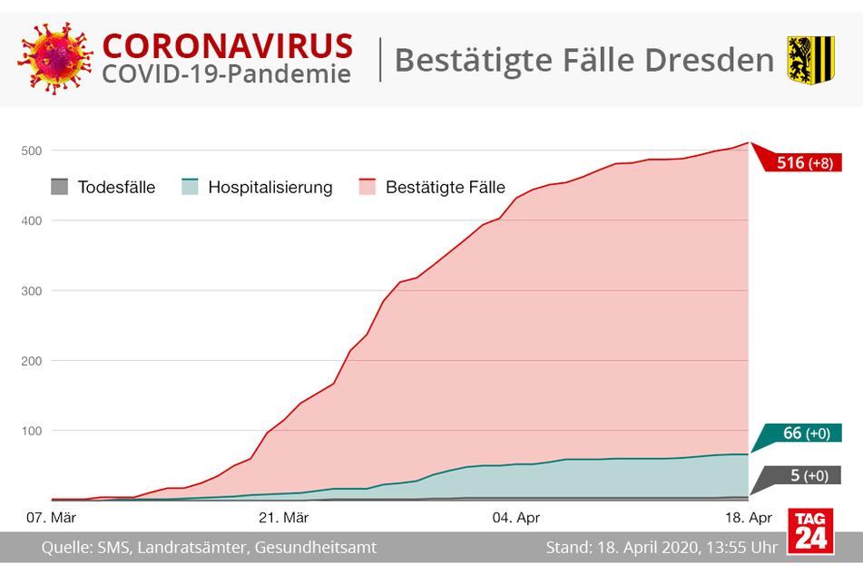 In Dresden gibt es derzeit 516 bestätigte Corona-Fälle.