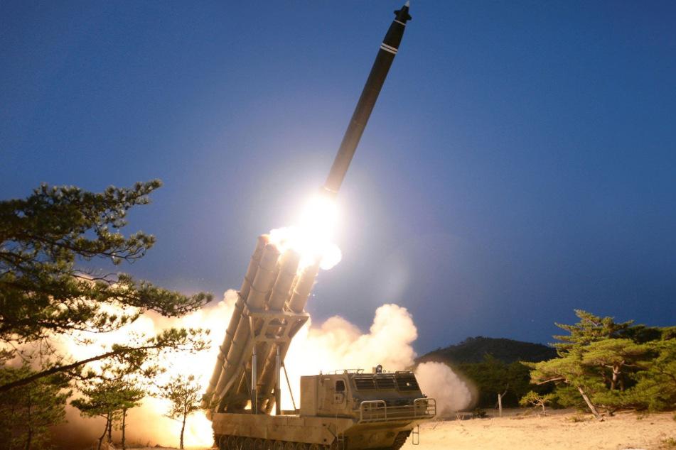 """Dieses von KCNA zur Verfügung gestellte Foto zeigt einen Raketentest. Nordkorea hat nach Darstellung der Militärs einen """"super großen Mehrfach-Raketenwerfer"""" eingesetzt."""