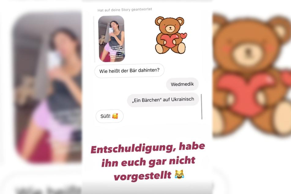 Etwas später am Montagabend stellte Anastasiya Avilova (32) den Teddybären im Hintergrund ihren Instagram-Followern vor.
