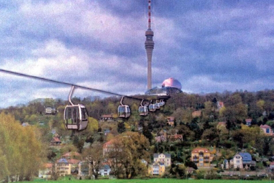 So stellte sich der Fernsehturm-Verein die Seilbahn in einem früheren Entwurf vor.