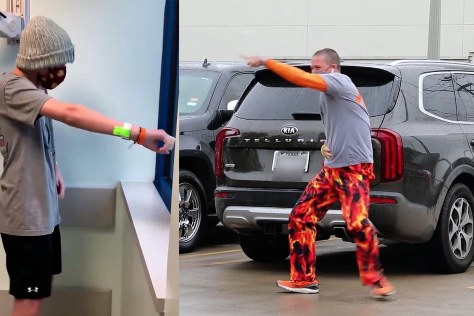 Weil er seinen an Leukämie erkrankten Sohn nicht besuchen kann, tanzt dieser Vater vorm Fenster