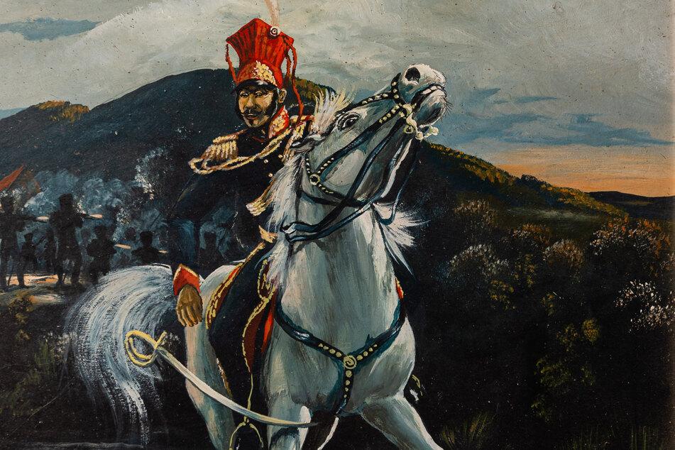 Fürst Poniatowski beim Gefecht bei Ebersdorf.