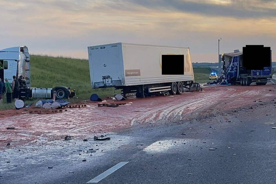 Trucks collision leaves British road looking like the set of a horror movie
