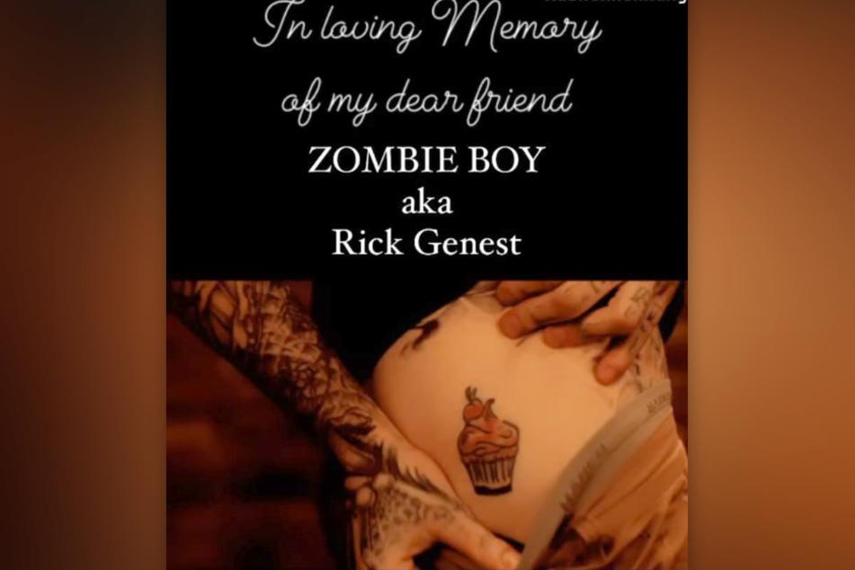 """Gina-Lisa Lohfinks (33) verstorbener Freund """"Zombie Boy"""" besaß ein ähnliches Cupcake-Tattoo."""