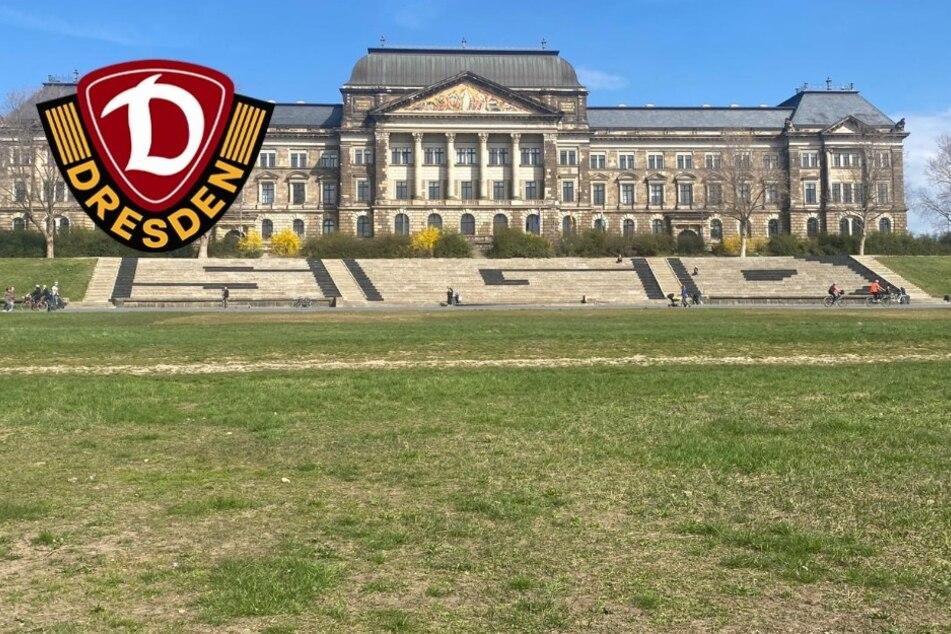 """Dresden: SGD! Dynamo-Fans mit Graffiti-Schriftzug an der """"Filmnächte""""-Treppe"""